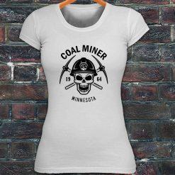 100 Cotton Short Sleeve Tee Shirts MINNESOTA MINER SKULL COAL PICK AXE MOUNTAIN women s T
