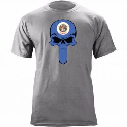 2018 Fashion 100 Cotton Men T Shirt Custom Original Minnesota State Flag Skull Cool T Shirts