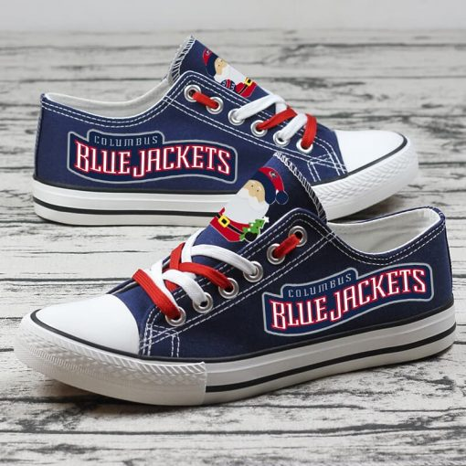 Christmas Columbus Blue Jackets Limited Low Top Canvas Sneakers