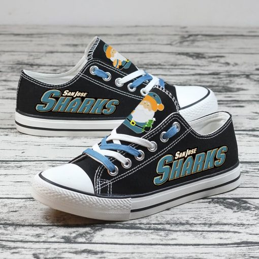 Christmas San Jose Sharks Limited Print Low Top Canvas Sneakers