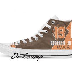 Clevelands Football Player Beckham Jr High Top Canvas Shoes Custom Walking shoes 1