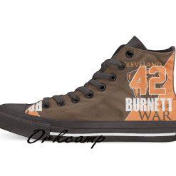 Clevelands Football Player Burnett High Top Canvas Shoes Custom Walking shoes