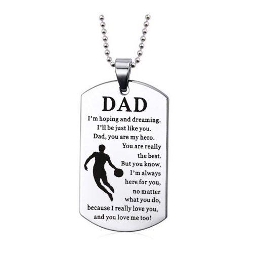 Customize Dad Engraving Tungsten Necklace