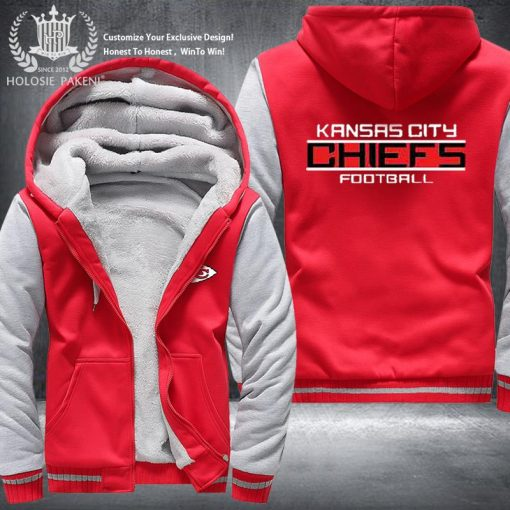 Dropshipping USA Size Men Chiefs City Thicken Kansas Fleece Hoodie Zipper Hoodie Sweatshirt Jacket Custom Coat 2