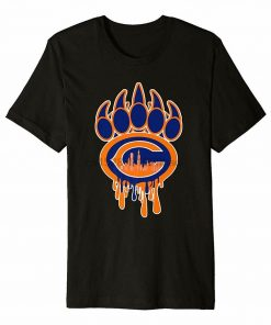 Football Chicago Skyline Bear Claw Funny Logo Black T Shirt For Football Fans Style Round Tee