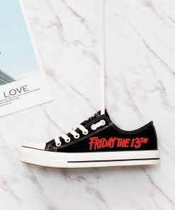 Halloween Friday the 13th Jason Voorhees Low Top Canvas Shoes