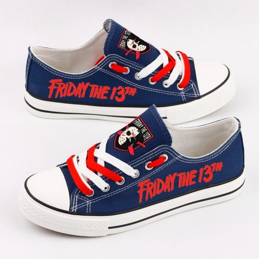 Halloween Friday the 13th Jason Voorhees Print Low Top Canvas Sneakers
