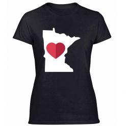 I Love Minnesota Mn State Pride Heart Gift Raglan T Shirt Women Kawaii Letters Leisure Boy