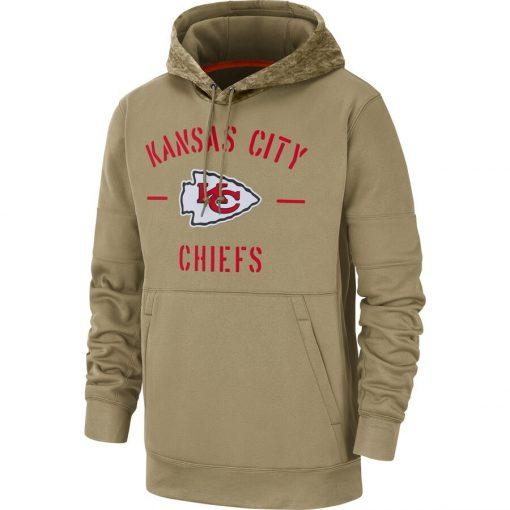 Kansas City Men American football Sweatshirt Chiefs 2019 Salute to Service Sideline Therma Pullover Hoodie Tan 1