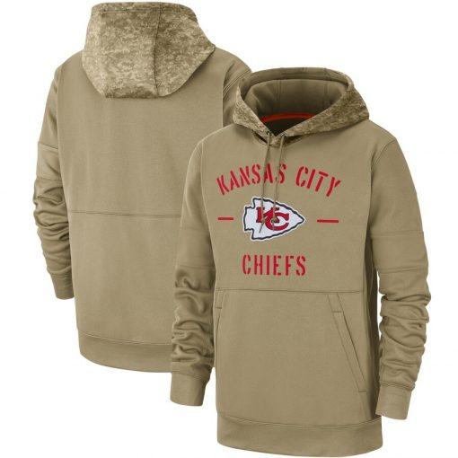 Kansas City Men American football Sweatshirt Chiefs 2019 Salute to Service Sideline Therma Pullover Hoodie Tan