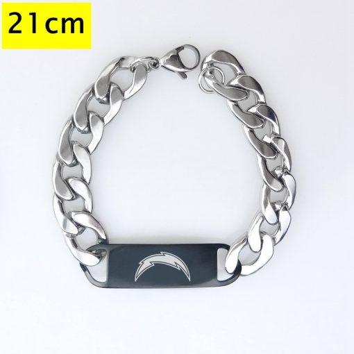 Los Angeles Chargers Men Fashion Wristlet Stainless Steel Bracelet