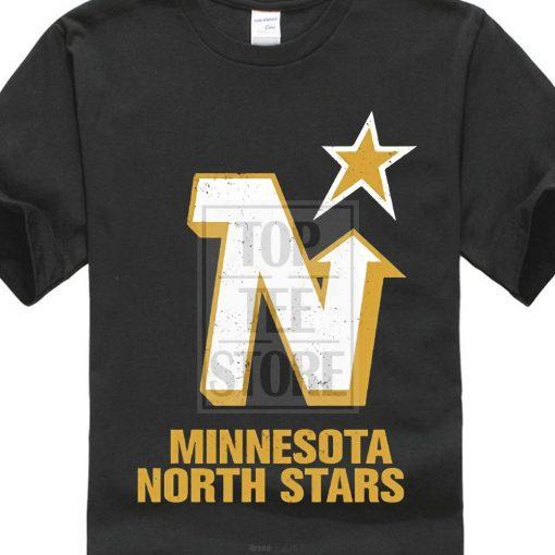 Men Cotton T Shirt Printed T Shirt Men S Old Time Minnesota North Stars Vintage Logo