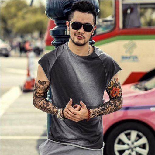 Men s t shirt Casual Slim Fit Short Sleeve Sports O Neck Shirt Top Blouse kansas 2