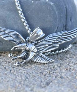 Mens Eagle Wings Necklace Antique Silver Native Scout Philadelphia Special Gift 1