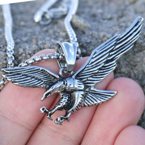Mens Eagle Wings Necklace Antique Silver Native Scout Philadelphia Special Gift 2