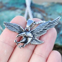 Mens Eagle Wings Necklace Antique Silver Native Scout Philadelphia Special Gift