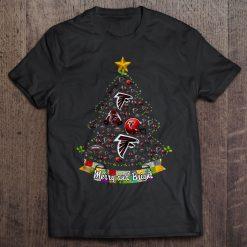Merry And Bright Atlanta Print T Shirt Short Sleeve O Neck Falcons Christmas Tree Tshirts