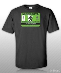 Minnesota Sasquatch Hunting Permit T Shirt Tee Shirt Free Sticker Bigfoot MN