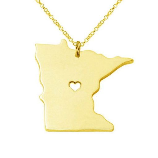 Minnesota State Necklace Design Cute Women Personalized Necklaces Fashion MI State Charm Link Necklace Chains 1
