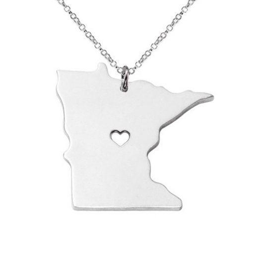 Minnesota State Necklace Design Cute Women Personalized Necklaces Fashion MI State Charm Link Necklace Chains 2