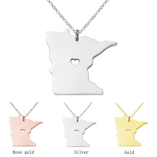 Minnesota State Necklace Design Cute Women Personalized Necklaces Fashion MI State Charm Link Necklace Chains 3