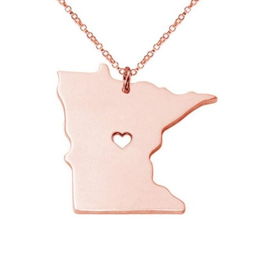 Minnesota State Necklace Design Cute Women Personalized Necklaces Fashion MI State Charm Link Necklace Chains