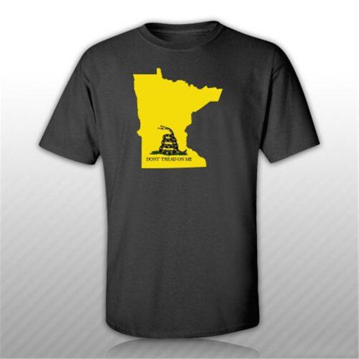 Minnesota State Shaped Gadsden Flag T Shirt Tee Shirt Free Sticker Mn Custom Made Tee Shirt