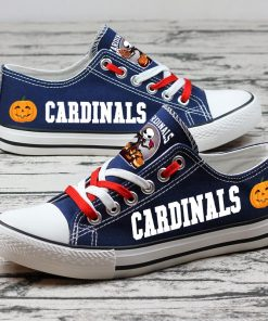 Arizona Cardinals Fan Halloween Jack Skellington Printed Canvas Sneakers