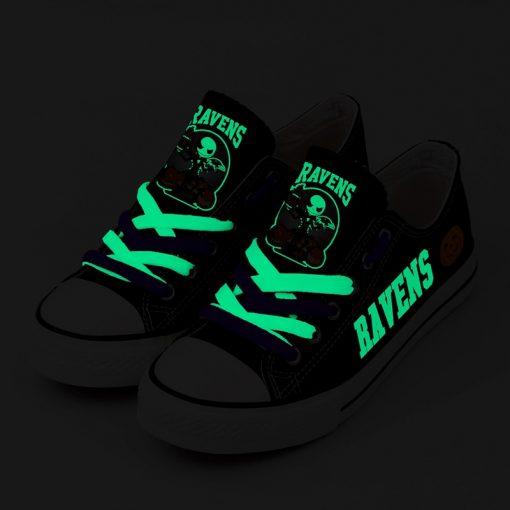 Baltimore Ravens Halloween Jack Skellington Printed Canvas Sneakers