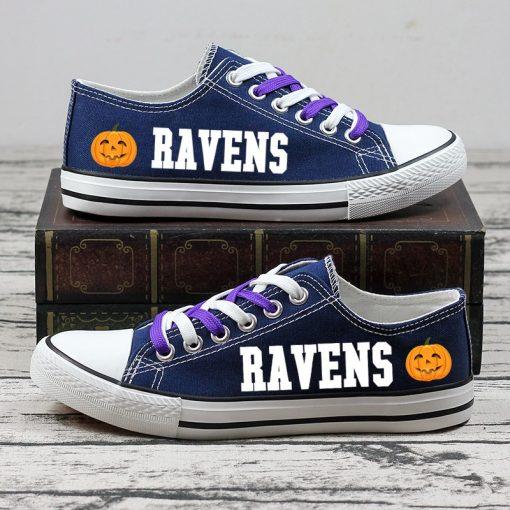 Baltimore Ravens Fans Halloween Jack Skellington Canvas Sneakers