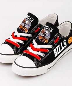 Buffalo Bills Halloween Design Jack Skellington Printed Canvas Sneakers