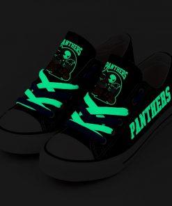 Carolina Panthers Halloween Design Jack Skellington Printed Canvas Sneakers
