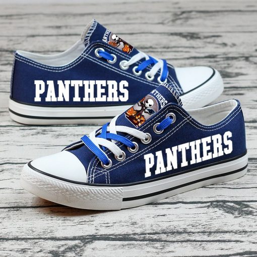 Carolina Panthers Halloween Design Jack Skellington Printed Canvas Shoes Sports