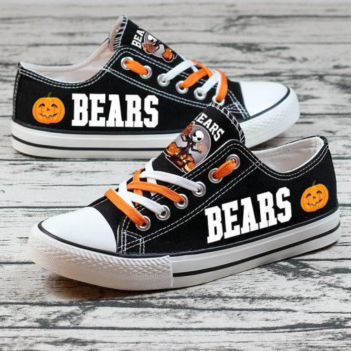 Chicago Bears Halloween Design Jack Skellington Printed Canvas Sneakers
