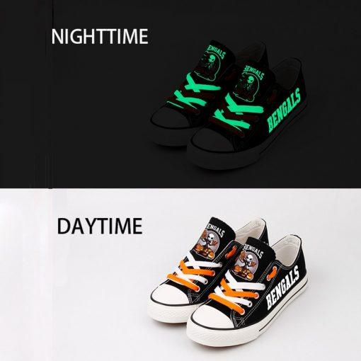 Cincinnati Bengals Halloween Design Jack Skellington Canvas Shoes Sneakers