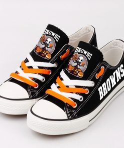 Cleveland Browns Halloween Jack Skellington Printed Canvas Sneakers