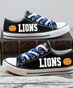 Detroit Lions Halloween Design Jack Skellington Printed Sneakers