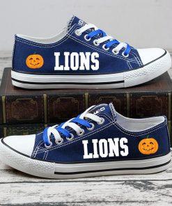 Detroit Lions Halloween Design Jack Skellington Canvas Shoes Sport