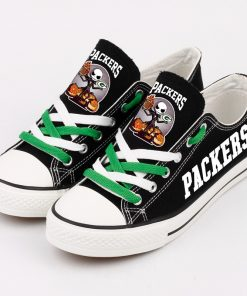 Green Bay Packers Halloween Jack Skellington Canvas Shoes Sneakers
