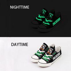 Green Bay Packers Halloween Jack Skellington Canvas Shoes Sneakers