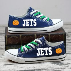 New York Jets Halloween Jack Skellington Printed Canvas Sneakers