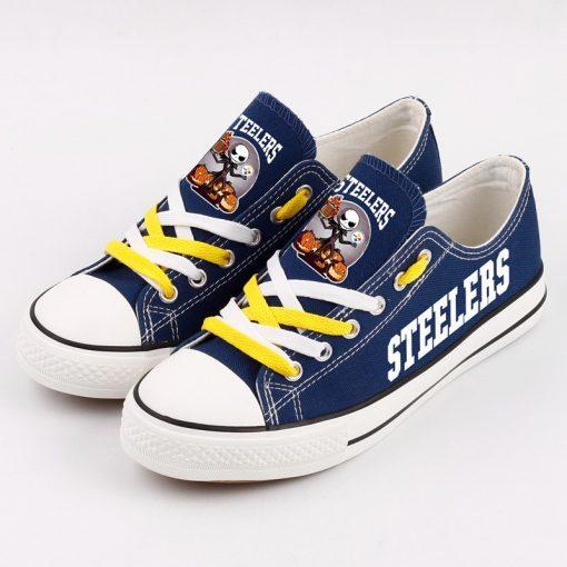 Pittsburgh Steelers Halloween Jack Skellington Canvas Sneakers