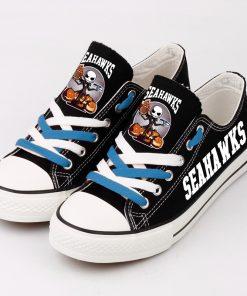 Seattle Seahawks Halloween Jack Skellington Canvas Sneakers