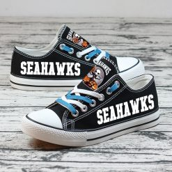 Seattle Seahawks Halloween Jack Skellington Canvas Sneakers