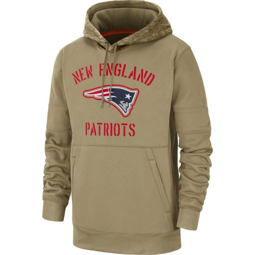 New England Men American football Sweatshirt Patriots 2019 Salute to Service Sideline Therma Pullover Hoodie Tan 1