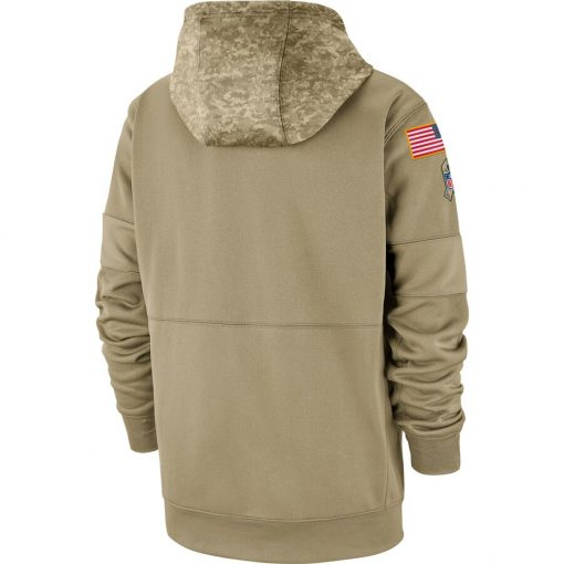 New England Men American football Sweatshirt Patriots 2019 Salute to Service Sideline Therma Pullover Hoodie Tan 2