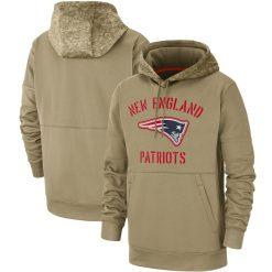 New England Men American football Sweatshirt Patriots 2019 Salute to Service Sideline Therma Pullover Hoodie Tan