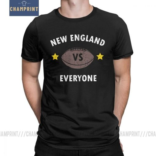 New England VS Everyone Men s T Shirts Football Rugby Patriot Fans Funny Pure Cotton Tees