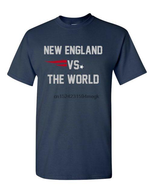 New England Vs The World Custom Men s T Shirt Patriots Football Tee Navy Blue