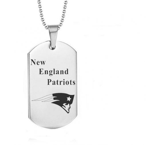 New England Patriots Engraving Tungsten White Necklace